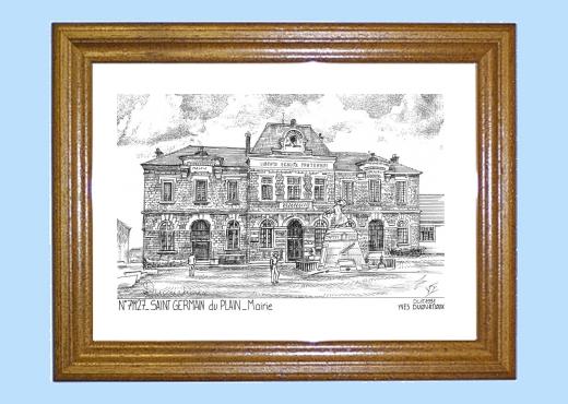 Cadre bois teinté impression Noir sur la ville de ST  ~ Mairie Saint Germain Du Bois