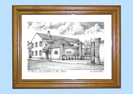 cadre bois teint 233 impression noir sur la ville de les essarts le roi titre mairie