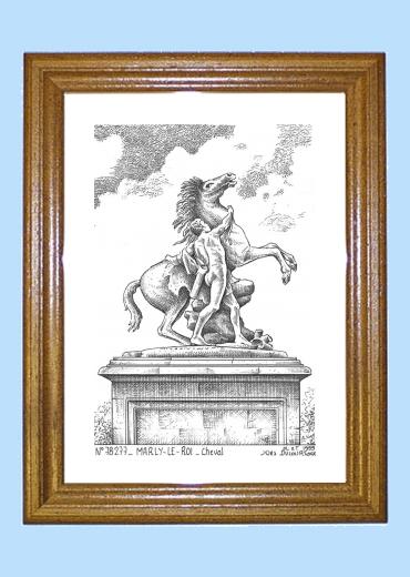 Biblioth?que Bois Le Roi : Cadre bois teint? impression Noir sur la ville de MARLY LE ROI Titre