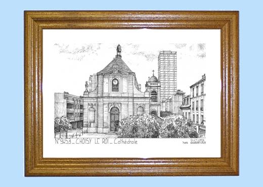 Cadre bois teint impression noir sur la ville de choisy for Piscine choisy le roi