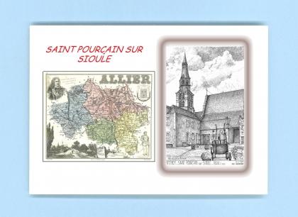 Cartes postales impression noir avec d partement sur la for Piscine st pourcain sur sioule