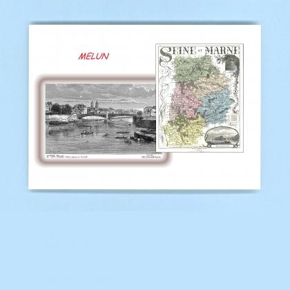 Cartes postales impression noir avec d partement sur la for Departement melun