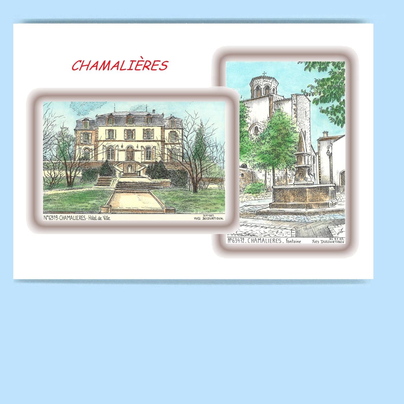 CP-L-63019-472-CARTE-POSTALE-DESSIN-COULEUR-2-VUES-63-CHAMALIERES
