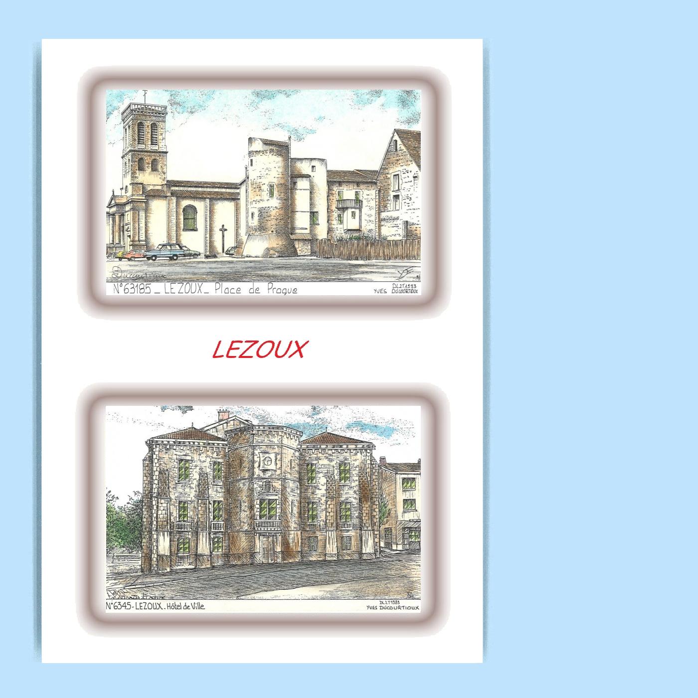 CP-L-63045-185-CARTE-POSTALE-DESSIN-COULEUR-2-VUES-63-LEZOUX