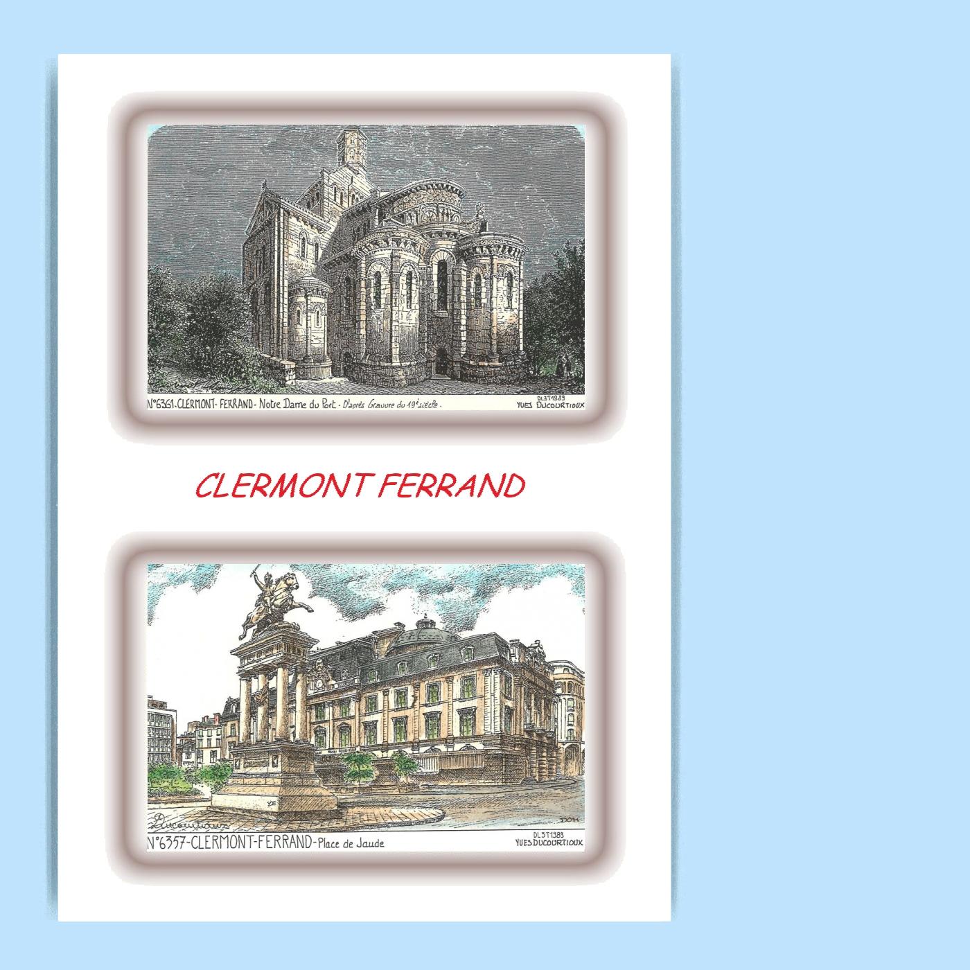 CP-L-63057-061-CARTE-POSTALE-DESSIN-COULEUR-2-VUES-63-CLERMONT-FERRAND